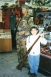 Boy at Mitch Miller's military display at the Seymour Community Museum